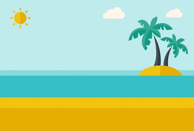 Ilha do mar tropical com palmeiras. Vetor Premium