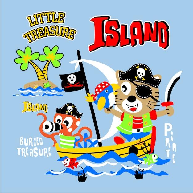 Ilha do tesouro de pirata engraçado dos desenhos animados Vetor Premium
