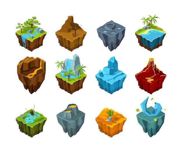 Ilha isométrica. terras voadoras com diferentes tipos de texturas predefinidas de água da cratera do vulcão da lua de cristal para jogos Vetor Premium