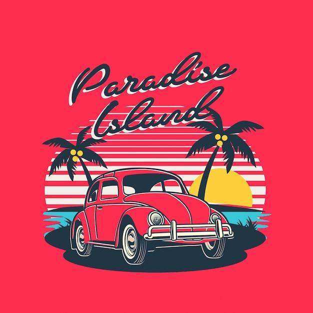 Ilha paradisíaca Vetor Premium