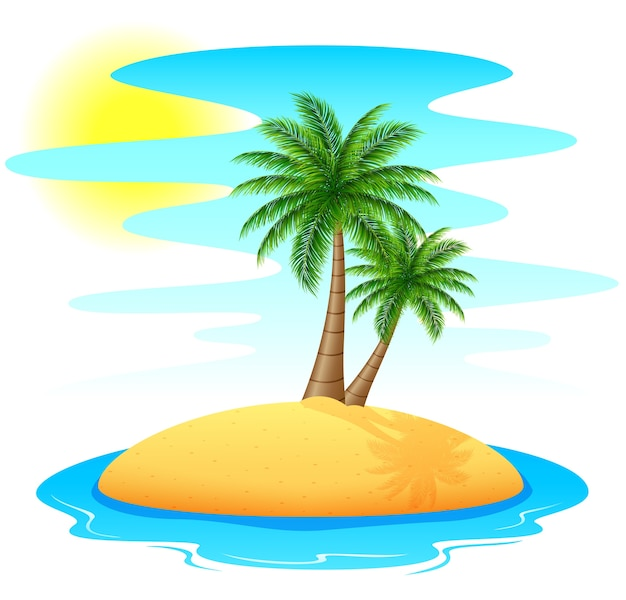 Ilha tropical com palmeiras Vetor Premium