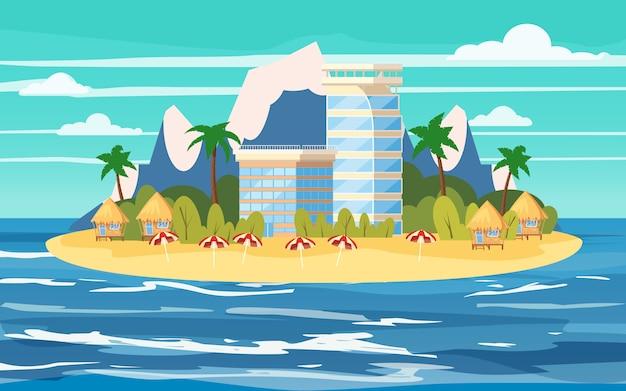 Ilha tropical, construção de hotéis, férias, viagens, relaxar, vista do mar, oceano, cadeira de praia, guarda-chuvas, modelo, banner Vetor Premium