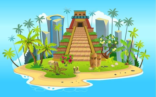 Ilha tropical dos desenhos animados com a pirâmide maia, palmeiras. montanhas, oceano azul, flores e vinhas. Vetor Premium