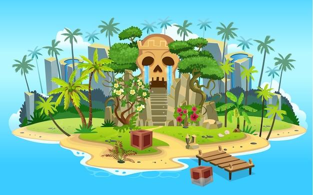 Ilha tropical dos desenhos animados com cave caveira com escadas, palmeiras. montanhas, oceano azul, flores e vinhas. Vetor Premium