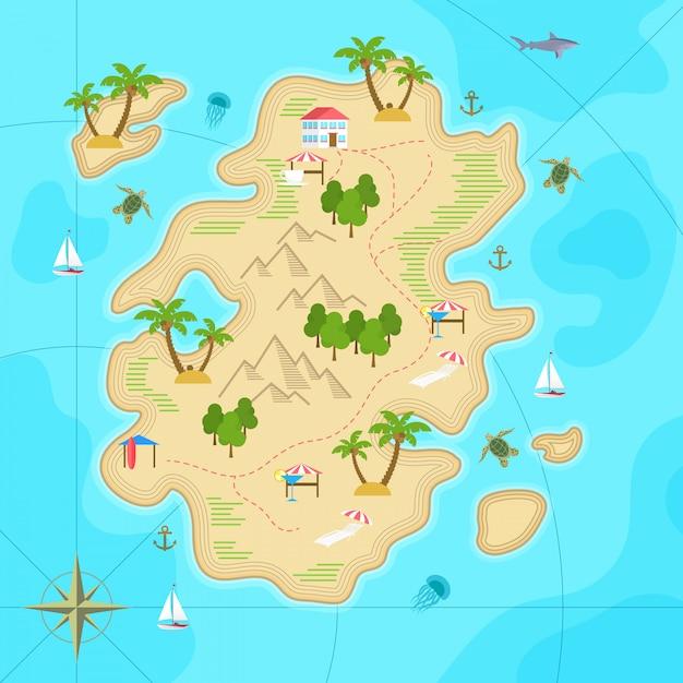 Ilha tropical dos desenhos animados no oceano Vetor Premium