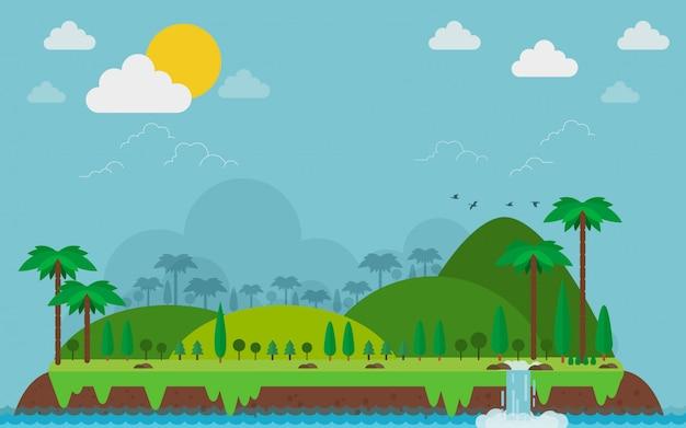 Ilha tropical. paisagem e montanha no estilo plana. Vetor Premium