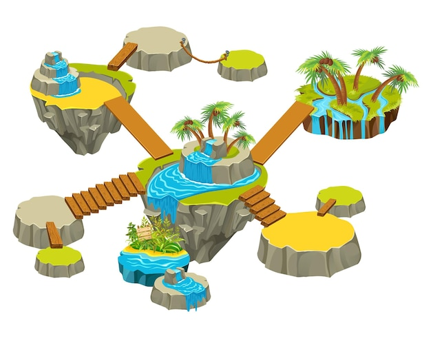 Ilhas com jardim. Vetor Premium