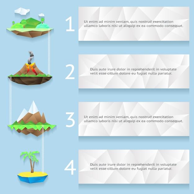 Ilhas de baixo poli com etapas e infográfico de números com quatro etapas Vetor grátis