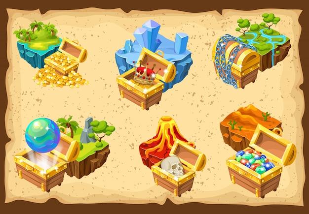 Ilhas de jogos e conjunto de tesouros escondidos Vetor grátis