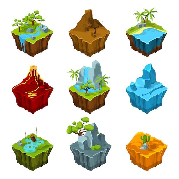 Ilhas isométricas de fantasia com vulcões, plantas e rios diferentes. Vetor Premium