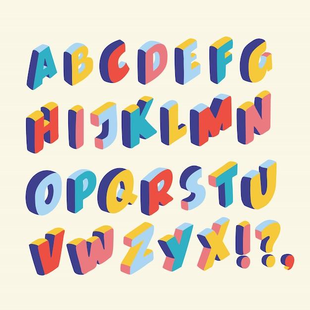 Illutration dos desenhos animados da fonte 3d, grandes letras coloridas em pé. letras de formas latinas de volume em cores diferentes no estilo isométrico Vetor Premium