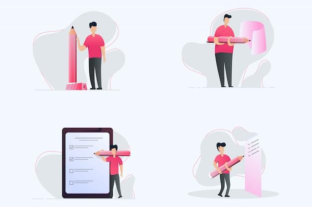 Illutrations são pessoas que escrevem Vetor Premium