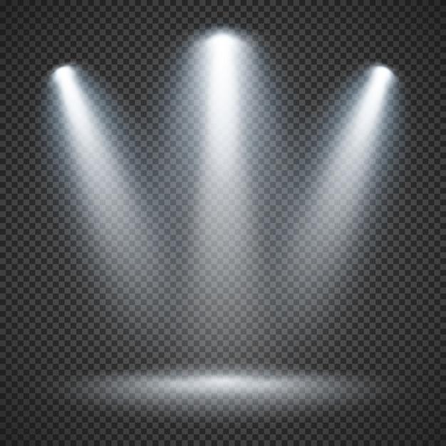 Iluminação de cena com iluminação brilhante de holofotes Vetor Premium