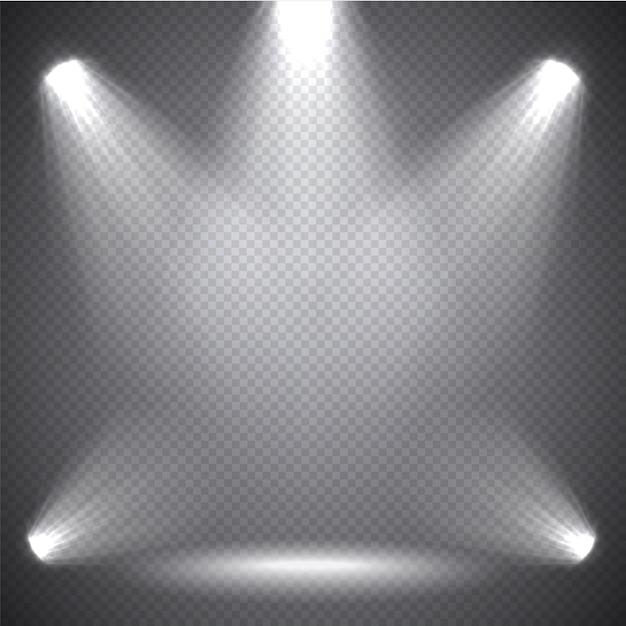 Iluminação de cena luz brilhante, efeitos transparentes Vetor Premium