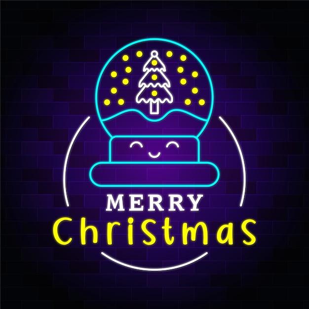 Iluminação de néon de feliz natal com ícone premium de natal Vetor Premium