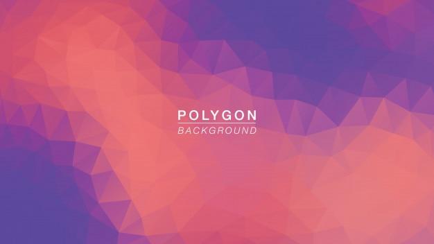 Iluminação roxa alaranjada do polígono Vetor Premium