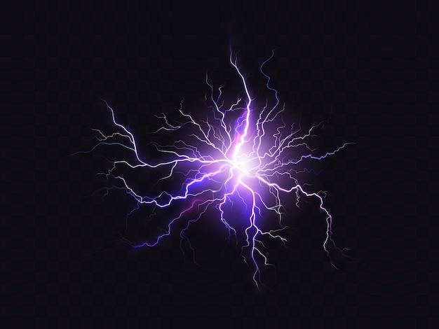 Iluminação roxa de brilho isolada no fundo escuro. descarga elétrica violeta iluminada Vetor grátis