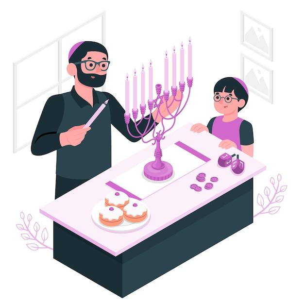Ilumine a ilustração do conceito de hanukkah menorah Vetor grátis