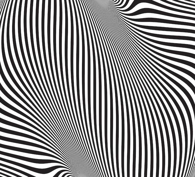 Ilusão de óptica. abstrato com padrão ondulado. redemoinho listrado preto e branco Vetor Premium
