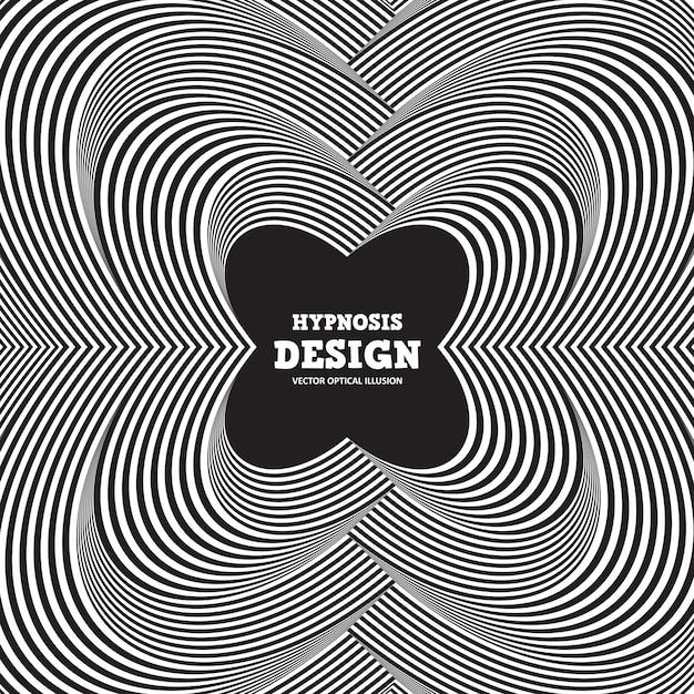 Ilusão de ótica abstrata. torcido fundo listrado preto e branco Vetor Premium
