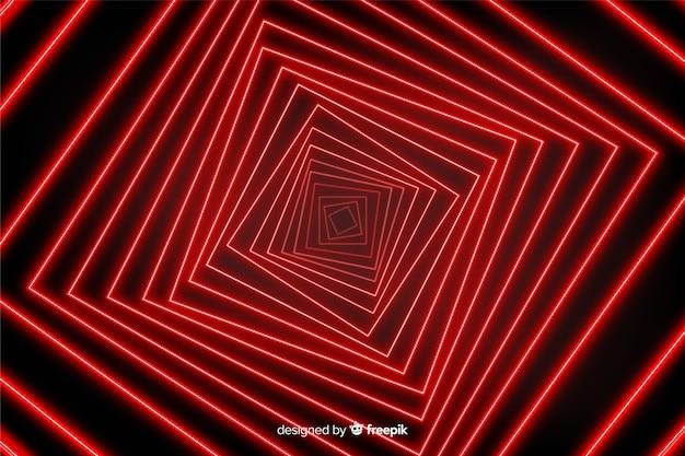 Ilusão de ótica com fundo de linhas de luz vermelha Vetor grátis