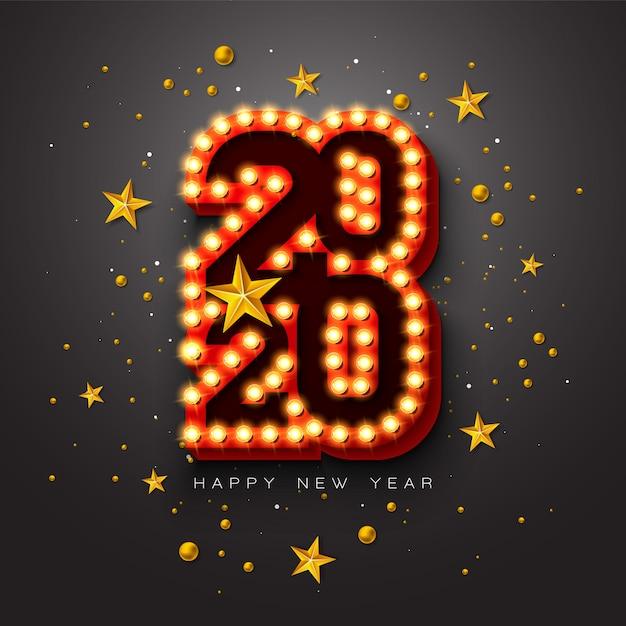 Ilustração 2020 feliz ano novo com letras de tipografia 3d lâmpada e bola de natal em fundo preto. Vetor grátis