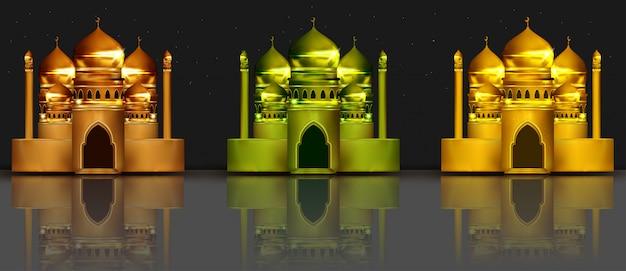 Ilustração 3d da coleção da mesquita Vetor Premium