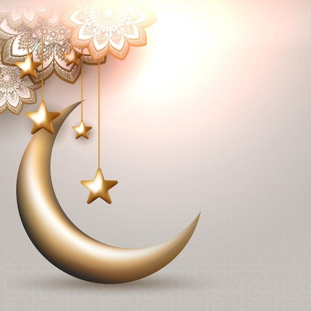 Ilustração 3d da lua crescente com estrelas douradas de suspensão e Vetor Premium