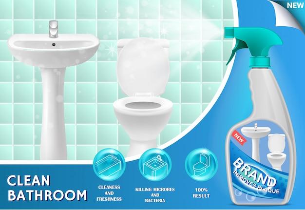 Ilustração 3d de anúncio de limpador de banheiro Vetor Premium