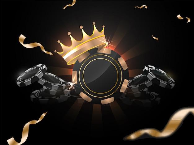 Ilustração 3d de fichas de cassino com coroa de prêmios em fundo preto raios decorado com fita de confete dourado. Vetor Premium
