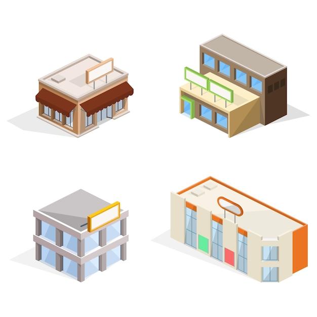 Ilustração 3d isométrica de edifícios de comércio Vetor grátis