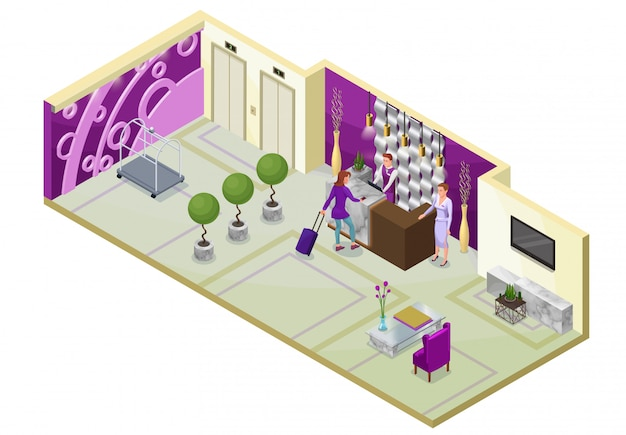 Ilustração 3d isométrica do hotel com pessoas Vetor Premium