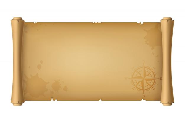 Ilustração 3d realista. rolo velho da antiguidade do pirata, mapa do tesouro com uma rosa dos ventos, isolada no branco. Vetor Premium