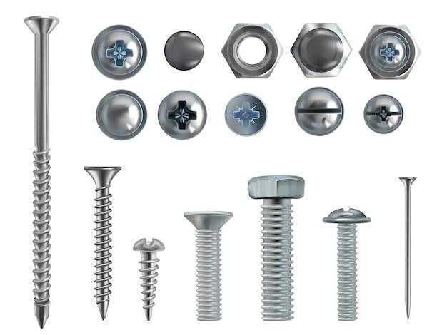 Ilustração 3d realística dos parafusos, dos pregos e dos parafusos de aço inoxidável no fundo branco. Vetor grátis