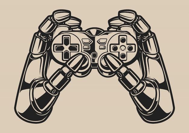 Ilustração a preto e branco com mão de robô e joystick de jogo em um branco Vetor Premium