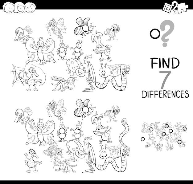 Ilustração a preto e branco do jogo de diferenças Vetor Premium