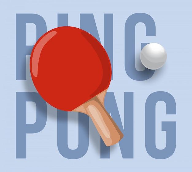 Ilustração abstrata da raquete de pingue-pongue sobre fundo claro. texto de pingue-pongue. tênis de mesa. Vetor Premium