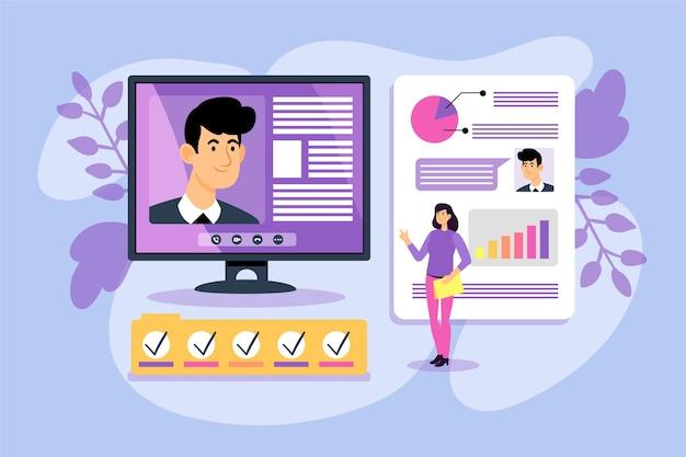 Ilustração abstrata de entrevista de emprego online Vetor grátis