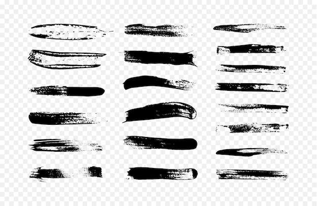 Ilustração abstrata de uma coleção de pinceladas de preto. Vetor Premium