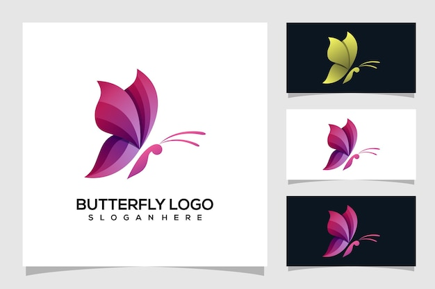 Ilustração abstrata do logotipo da borboleta Vetor Premium