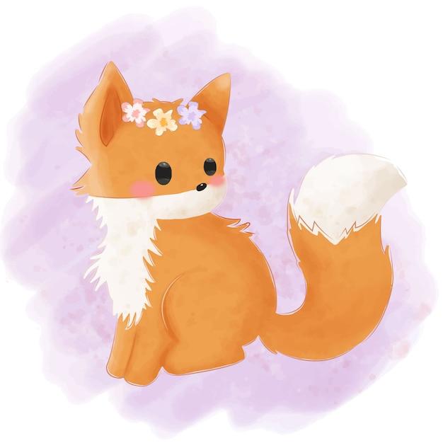 Ilustração adorável raposa bebê para decoração de berçário Vetor Premium