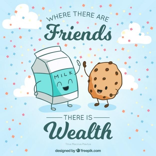Ilustração agradável de deliciosos amigos com uma frase inspirada Vetor grátis