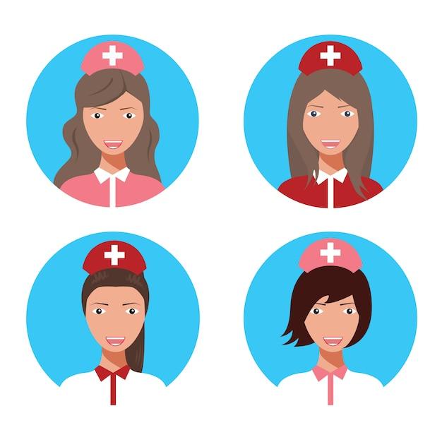 Ilustração ajustada do vetor do avatar fêmea do doutor da enfermeira. Vetor Premium
