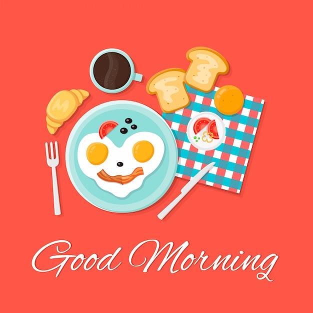 Ilustração ajustada isolada café da manhã do ícone liso. bom dia. os ovos sorriem, torradas, croissant, café Vetor Premium