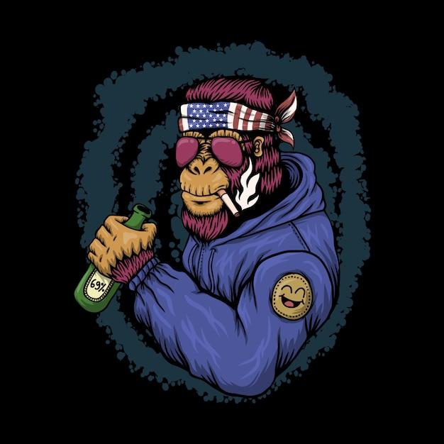 Ilustração alcoólica de gorila Vetor Premium