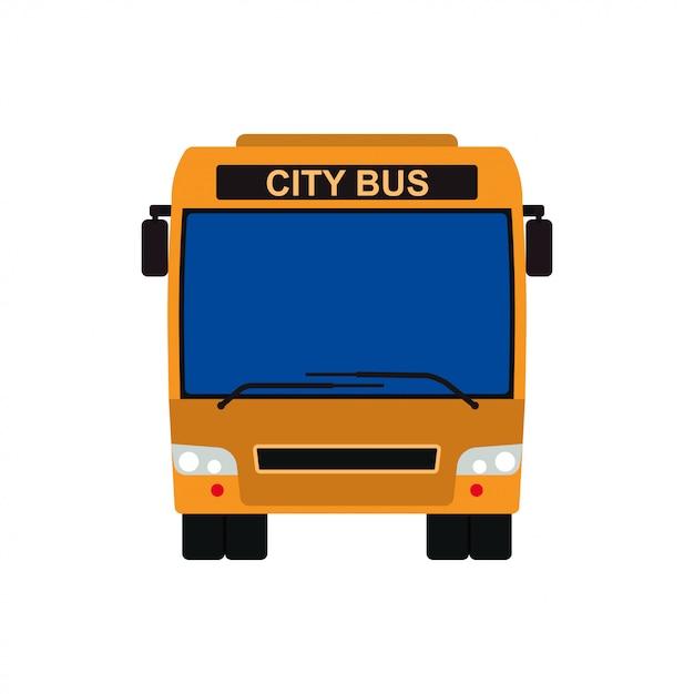 Ilustração amarela do veículo do vetor da vista dianteira do ônibus. ícone de carro público isolado de viagens de transporte. Vetor Premium