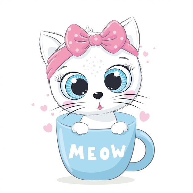 Ilustração animal com gatinho fofo no copo. Vetor Premium