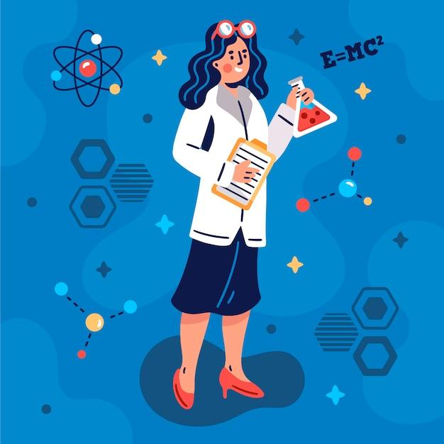 Ilustração artística de cientista feminina Vetor grátis