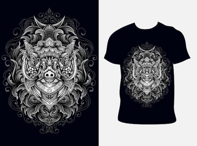 Ilustração barong porco com design de camiseta Vetor Premium