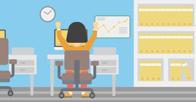 Ilustração bem sucedida do vetor da mulher de negócio. Vetor Premium